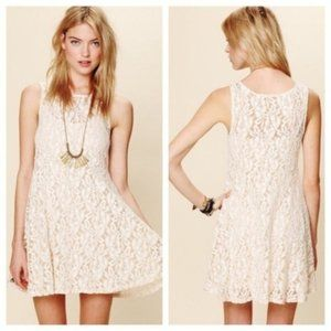 Free People ivory Miles of Lace mini dress NWT